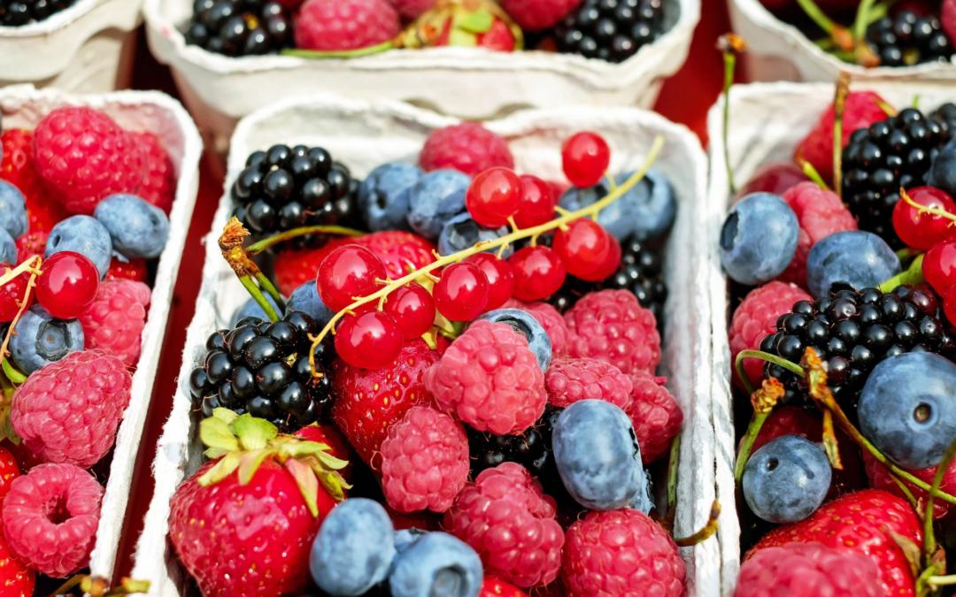 Bakje met verschillend fruit als symbool voor keuzestress